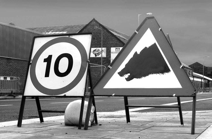 Wolf road sign Biennial 10